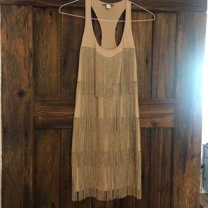 Muse by Boston Proper Tan Fringe Mini Dress - sz 8